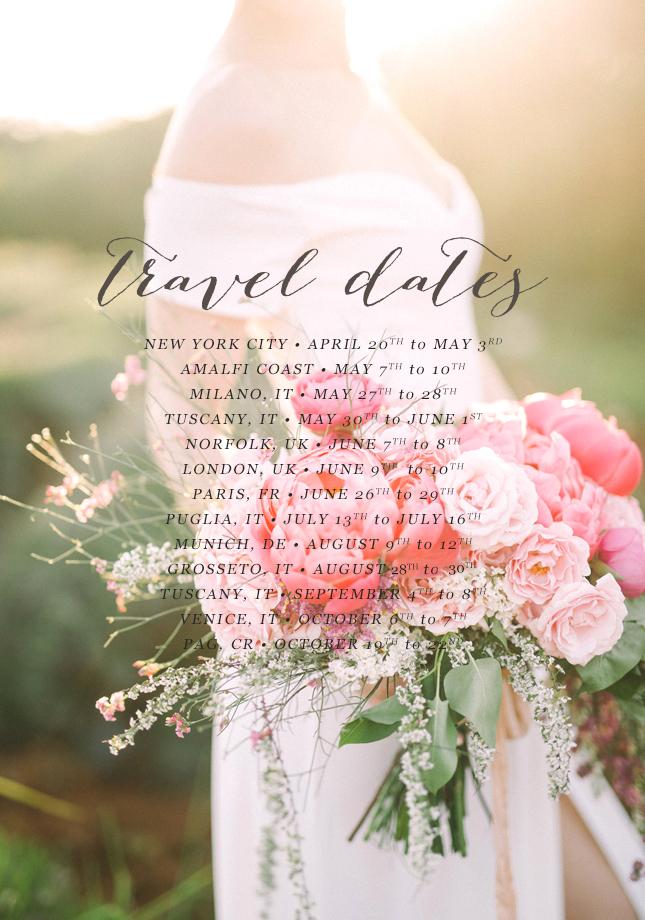 Travel dates Destination wedding photographer Italy Puglia Tuscany UK France Provence Ireland New York Amalfi Coast 1